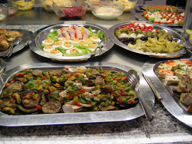 a buffet with different dishes